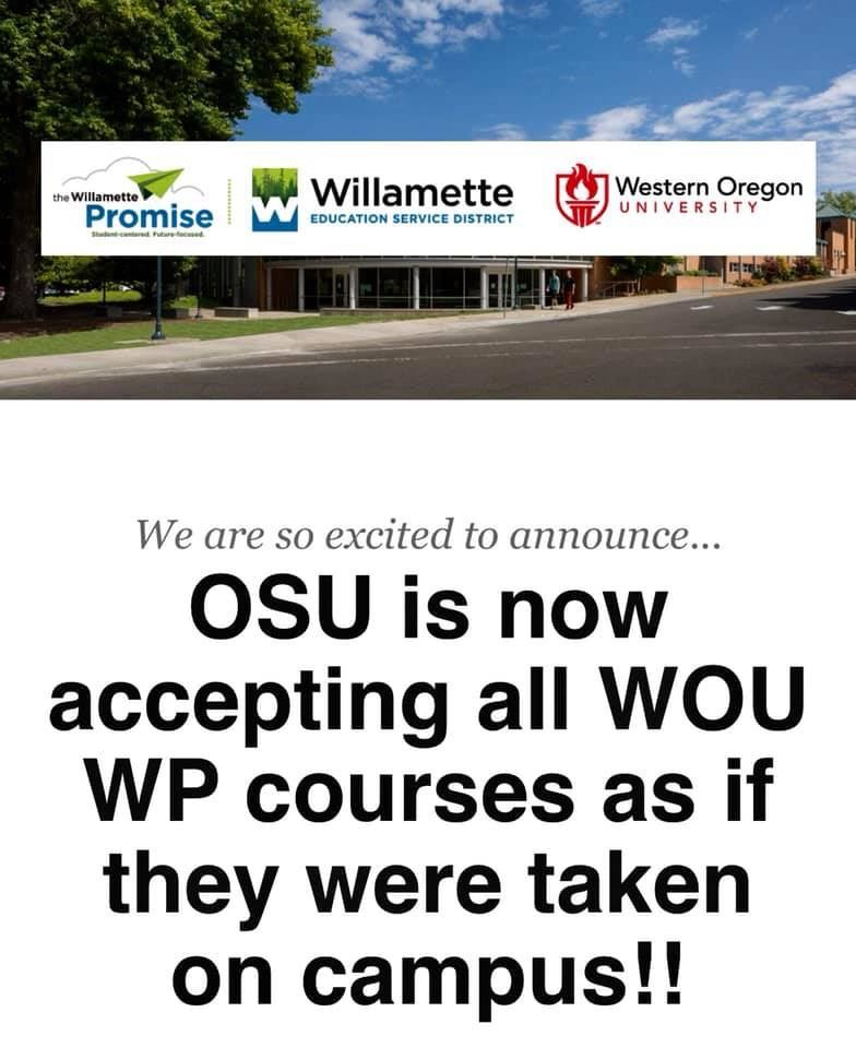 OSU accepts WOU WP Courses as if they were taken on campus!